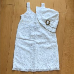 NWT Child's White Dress and Matching Bucket Hat